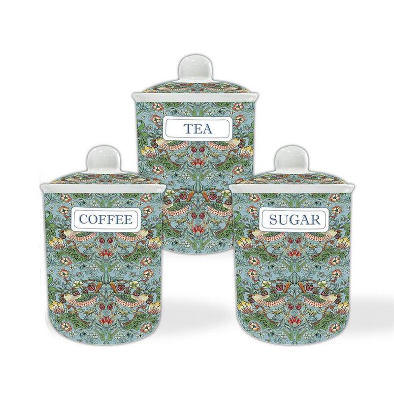 Nostalgic – Strawberry Thief Aqua Tea, Coffee and Sugar Canisters