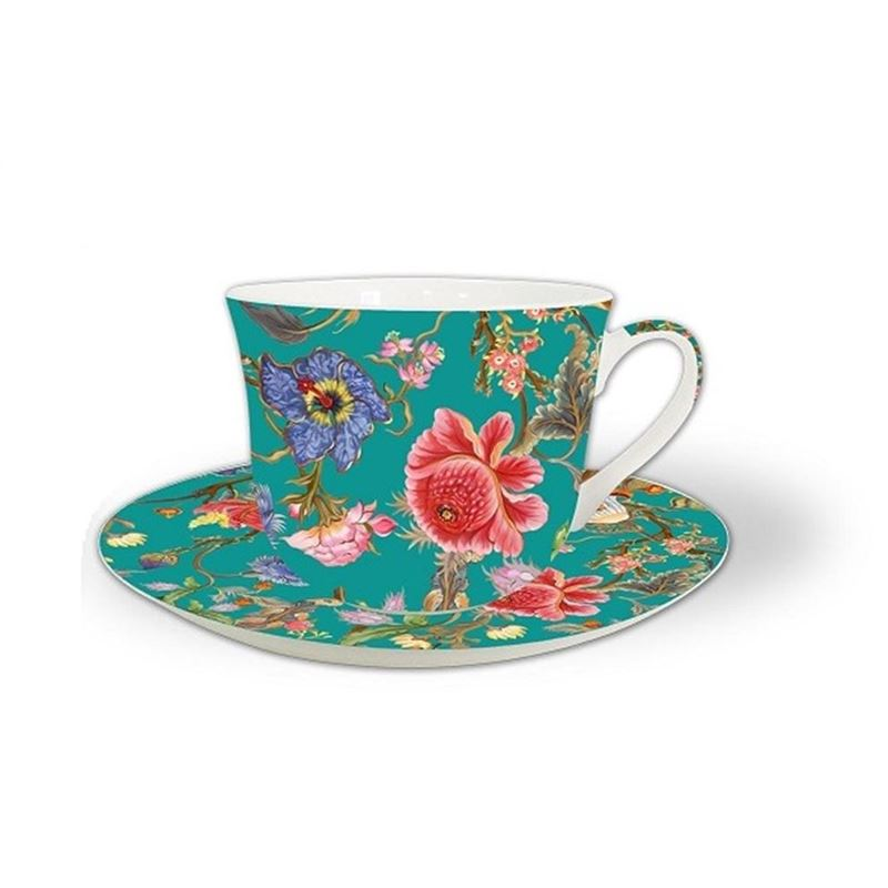 Heritage – Fine China Breakfast Cup and Saucer Anthina Aqua 530ml