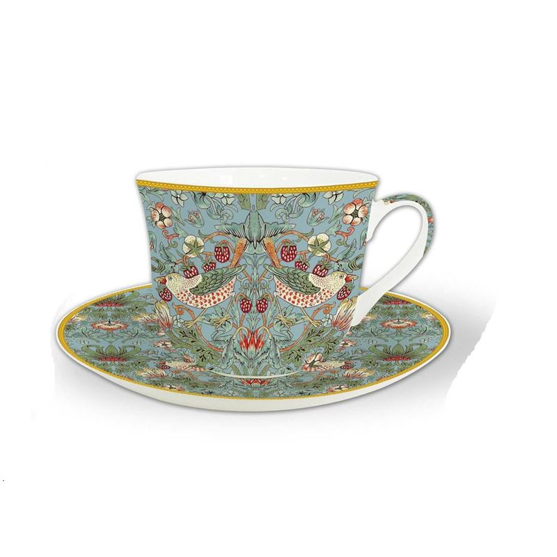 Heritage – Fine China Breakfast Cup and Saucer Strawberry Thief Aqua 530ml