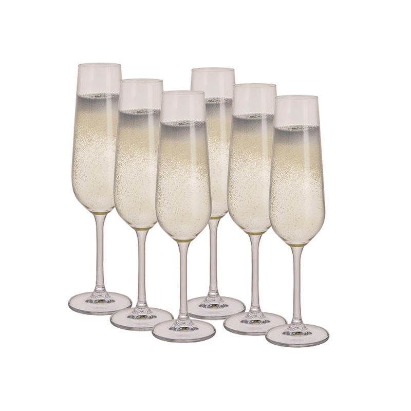 Dartington Crystal – Select Champagne Flute 200ml Set of 6 Gift Pack (Made in Slovakia)