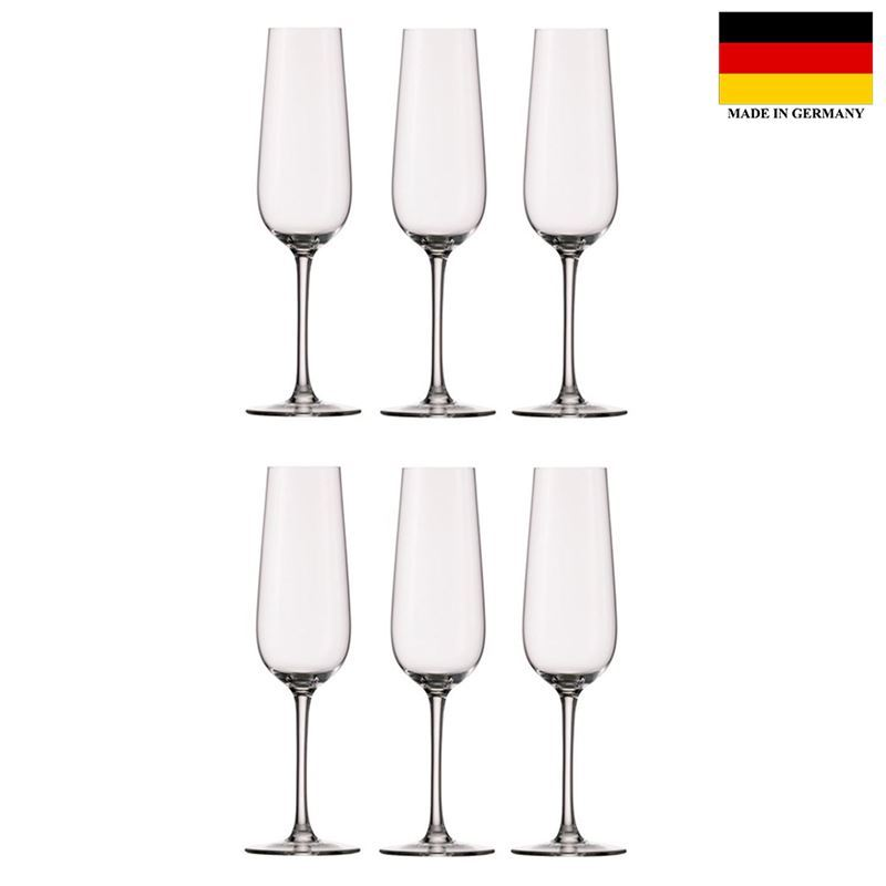 Stolzle – Grandezza Flute 214ml Premium German Lead Free Crystal Glass Set of 6 (Made in Germany)