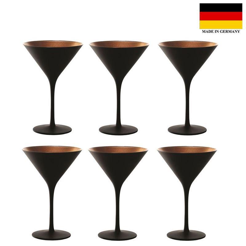 Stolzle – Elements Cocktail Matt Black/Bronze 240ml Premium German Lead Free Crystal Glass Set of 6 (Made in Germany)