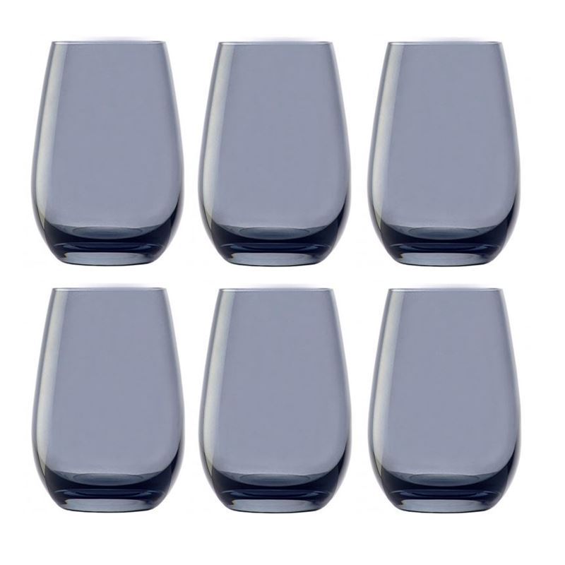 Stolzle – Elements Tumbler Smokey Blue 465ml Premium German Lead Free Crystal Glass Set of 6 (Made in Germany)