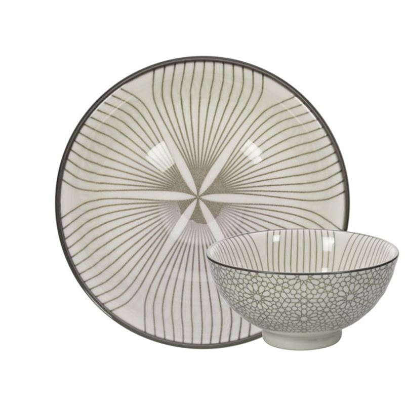 Gusta – Table Tales Commercial Grade Dish Grey Wire Flower and Mosaic 10cm