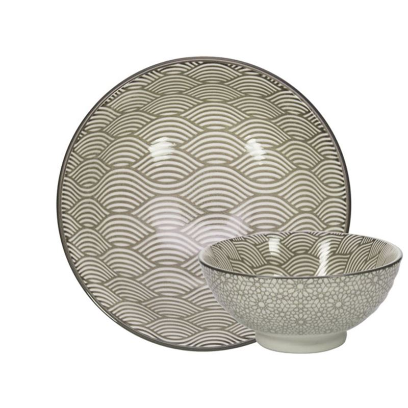 Gusta – Table Tales Commercial Grade Noodle Grey Waves and Mosaic 12×5.7cm