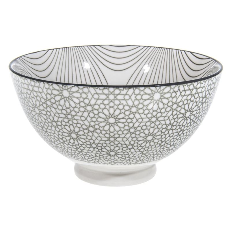 Gusta – Table Tales Commercial Grade Round Bowl Grey Swirl and Mosaic 13.5×7.5cm