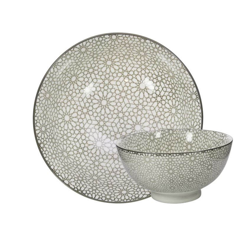 Gusta – Table Tales Commercial Grade Round Bowl Grey Mosaic 15.7x7cm