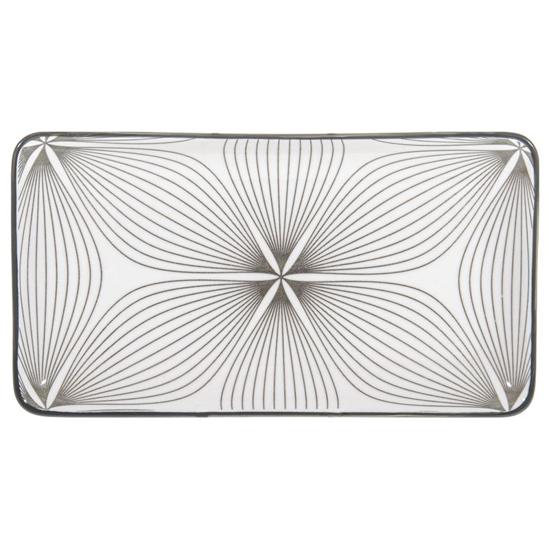 Gusta – Table Tales Commercial Grade Rectangular Plate Grey Wire Flower 22.5×12.5cm
