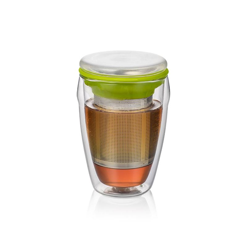 Beleaf – Double Wall Tea Glass with Stainless Steel Infuser 350ml