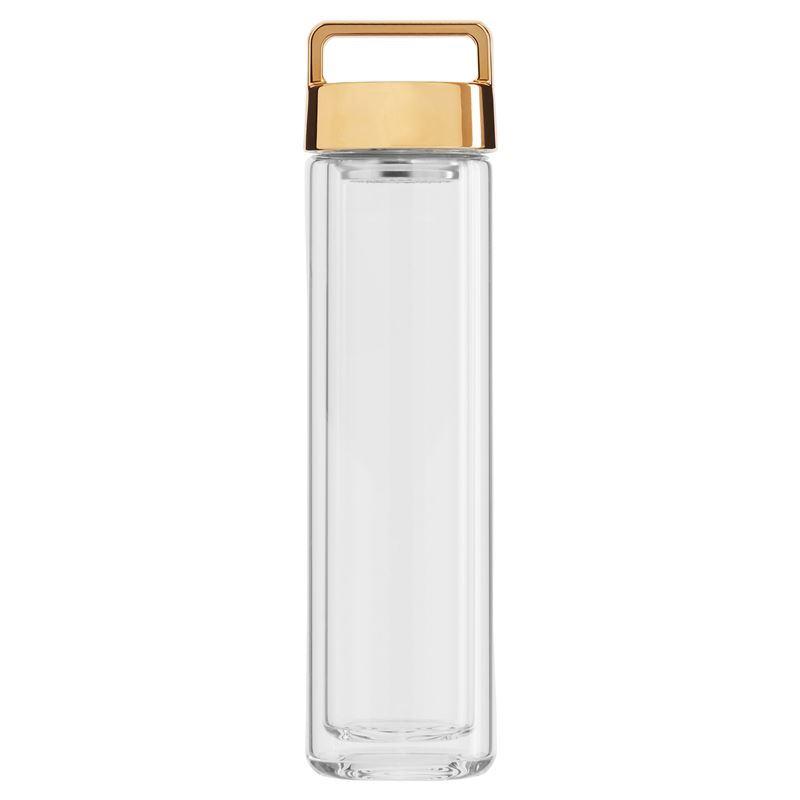 Beleaf – Double Wall Glass Bottle with Metallic Gold Lid 460ml