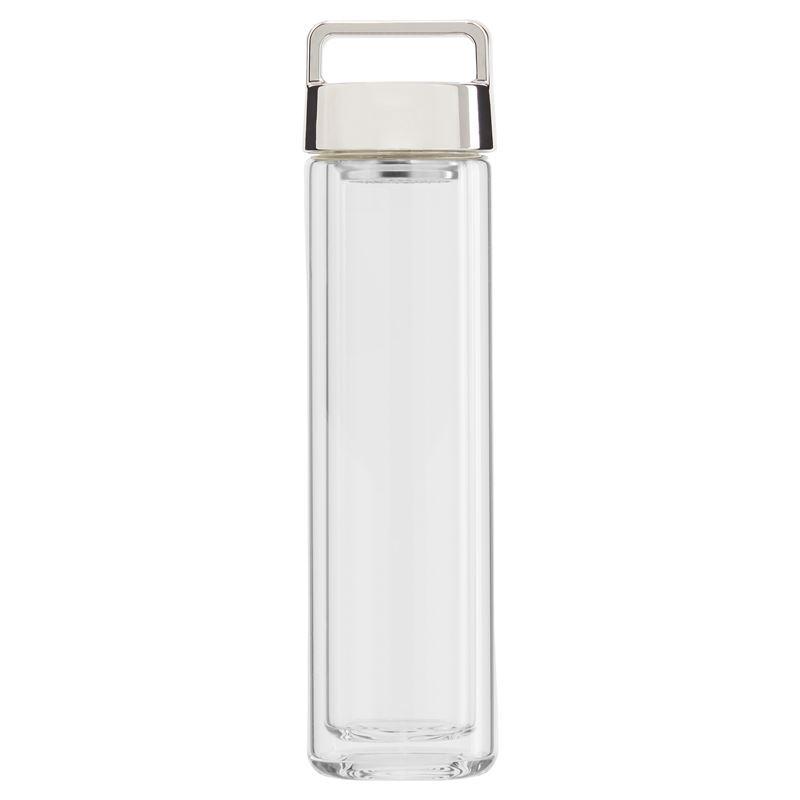 Beleaf – Double Wall Glass Bottle Silver Lid 460ml