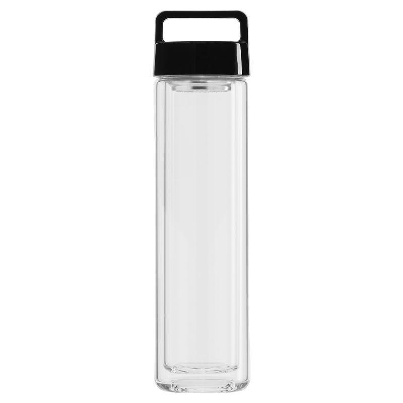 Beleaf – Double Wall Glass Bottle with Jet Black Lid 460ml