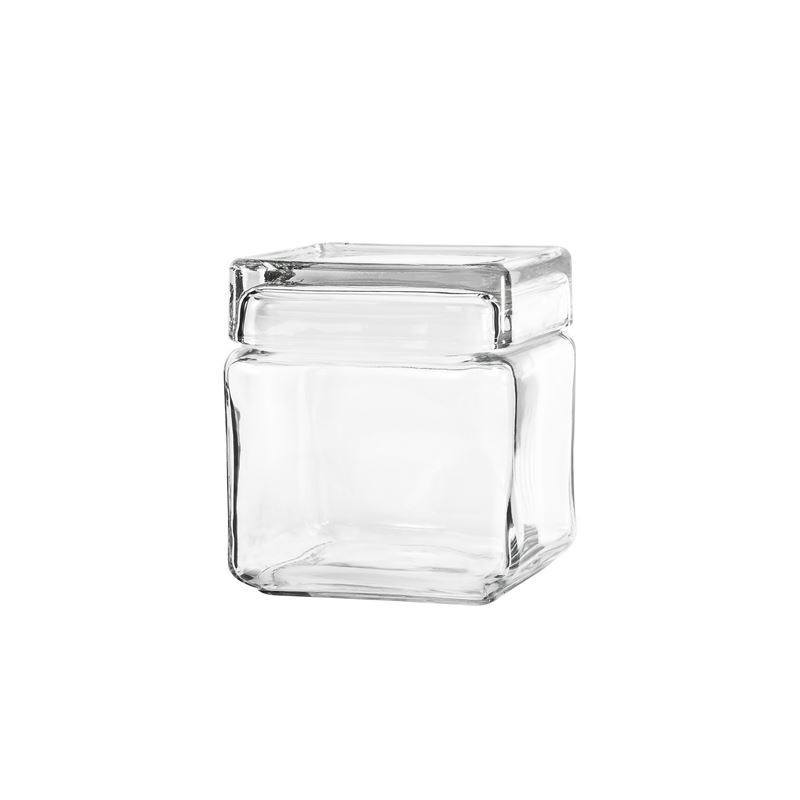 Anchor Hocking – Glass Square Stackable Jar 12.5×10.5cm 947ml (Made in the U.S.A)