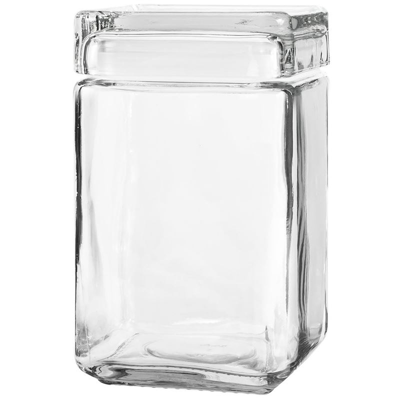 Anchor Hocking – Glass Square Stackable Jar 18.5×10.5cm 1.4Ltr (Made in the U.S.A)