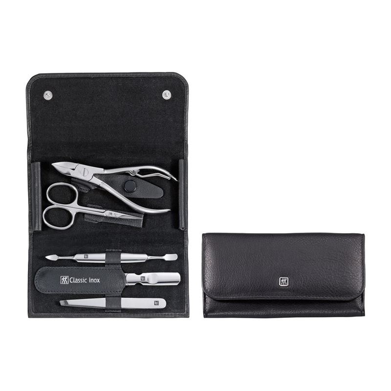 Zwilling J.A. Henckels – Classic Inox Manicure Snap Fastener Case Neat's Leather 5pc