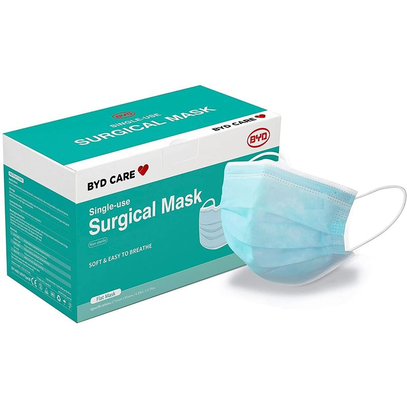 BYD Care – 3-Ply Disposable SINGLE USE Surgical Face Mask Pack of 50 Blue ARTG: 332299