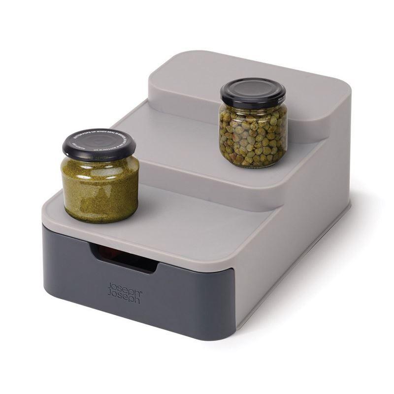 Joseph Joseph – Duo Tiered Cupboard Organiser Grey with Drawer