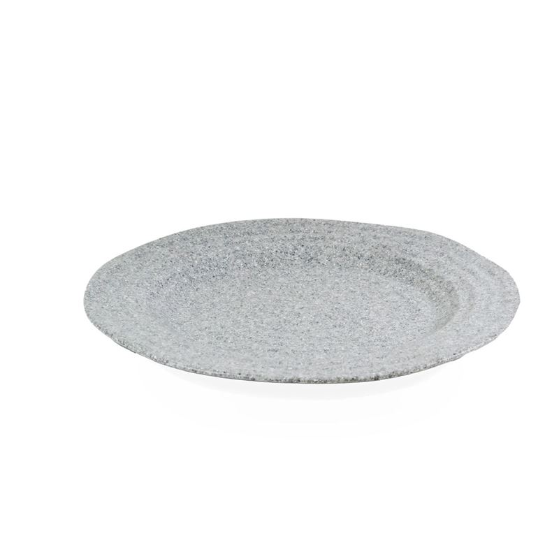 Jab Design – Stone Grey Ripple Effect Commercial Grade Melamine Round Rim Plate 27.5cm