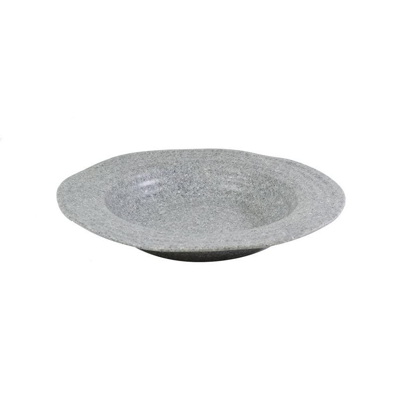 Jab Design – Stone Grey Ripple Effect Commercial Grade Melamine Round Rim Pasta Plate 25cm