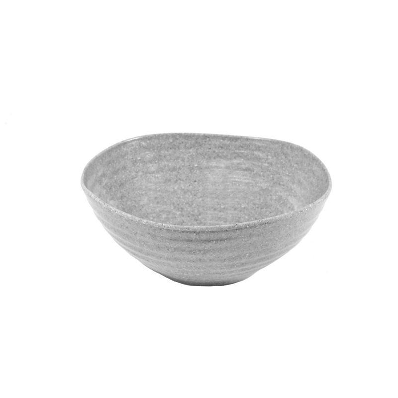 Jab Design – Stone Grey Ripple Effect Commercial Grade Melamine Round Organic Bowl 15x6cm