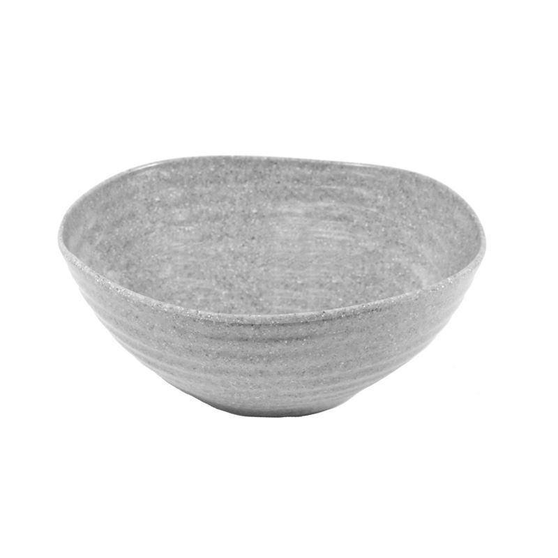 Jab Design – Stone Grey Ripple Effect Commercial Grade Melamine Round Organic Bowl 20×8.5cm