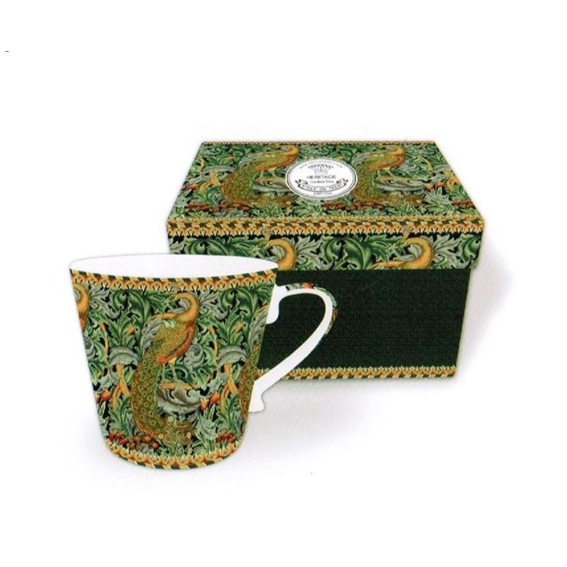 Heritage – Fine China Conical Mug 400ml – Deluxe Hat Box Peacock Tapestry