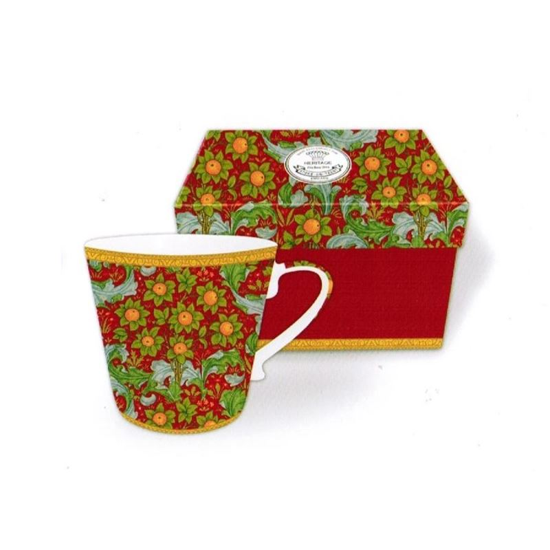 Heritage – Fine China Conical Mug 400ml – Deluxe Hat Box Orchard Tapestry Strawberry
