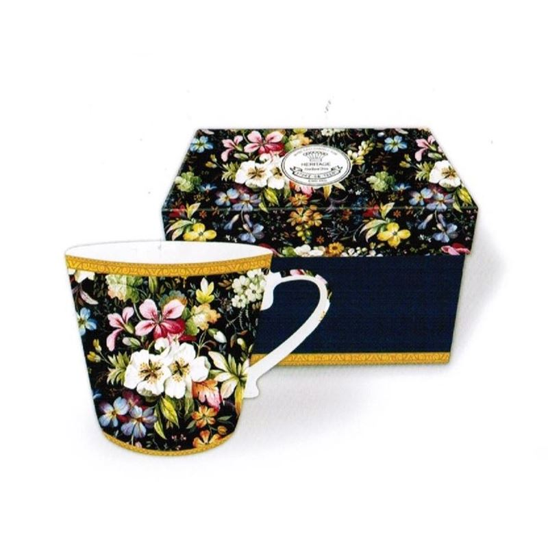 Heritage – Fine China Conical Mug 400ml – Deluxe Hat Box Still Life Flowers