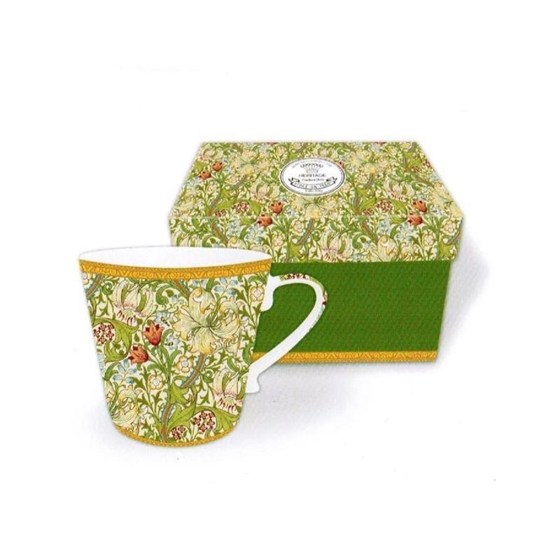 Heritage – Fine China Conical Mug 400ml – Deluxe Hat Box Golden Lily