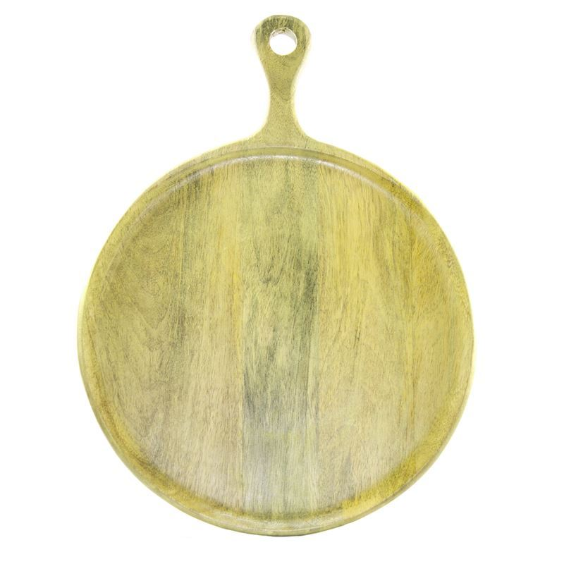 Chef Inox – Mangowood Serving Board Round with Handle 30x40x1.5cm Lime
