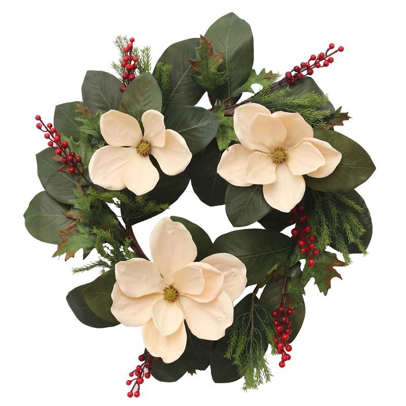 Merry Christmas Collection '21 – White Magnolia Wreath 70cm