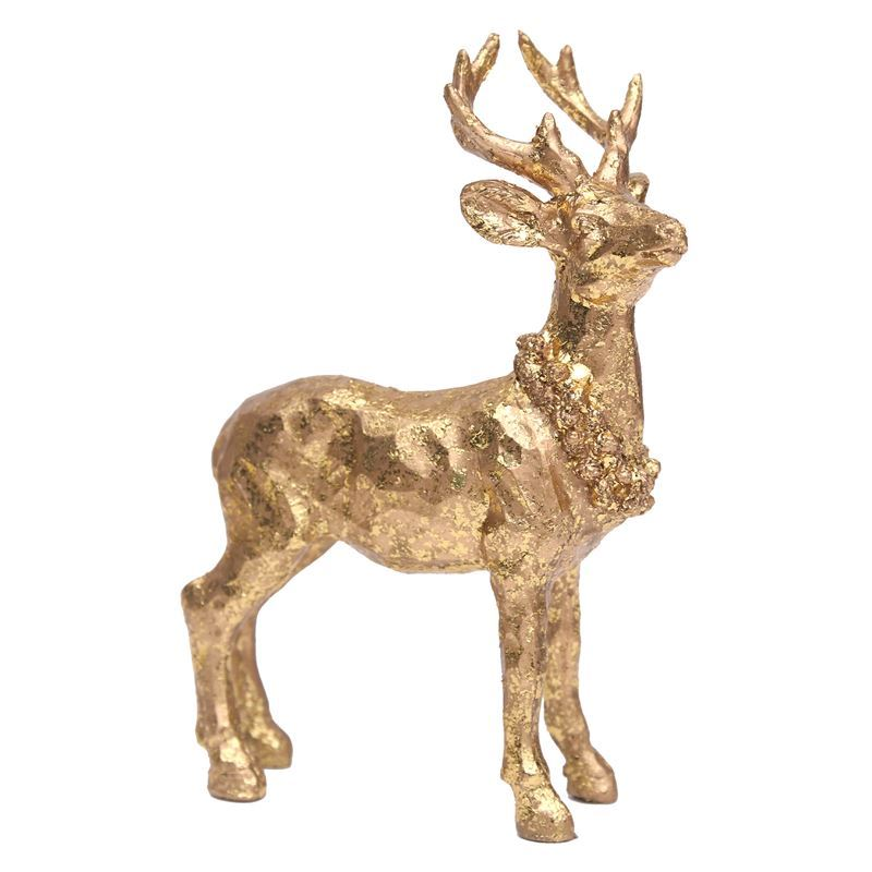 Merry Christmas Collection '21 – Gold Polyresin Reindeer 11x4x16.5cm