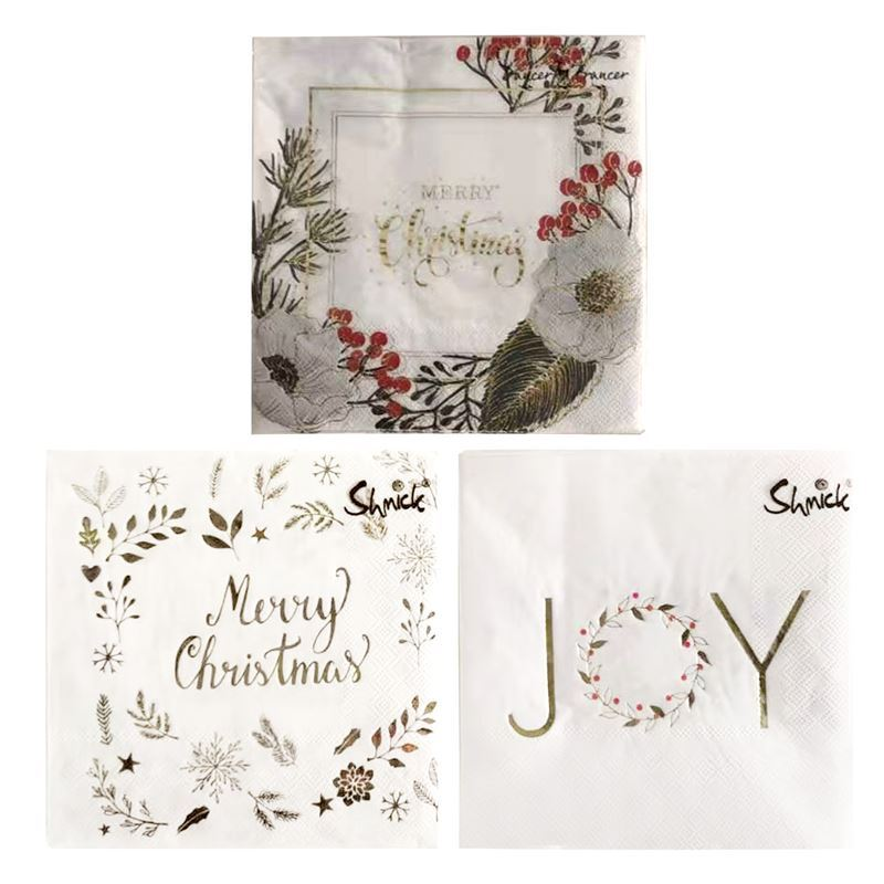 Merry Christmas Collection '21 – Gold Napkins 3Ply 33x33cm Pack of 20