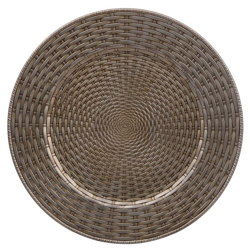 Merry Christmas Collection '21 – Antique Gold Wicker Look Charge Plate 33cm