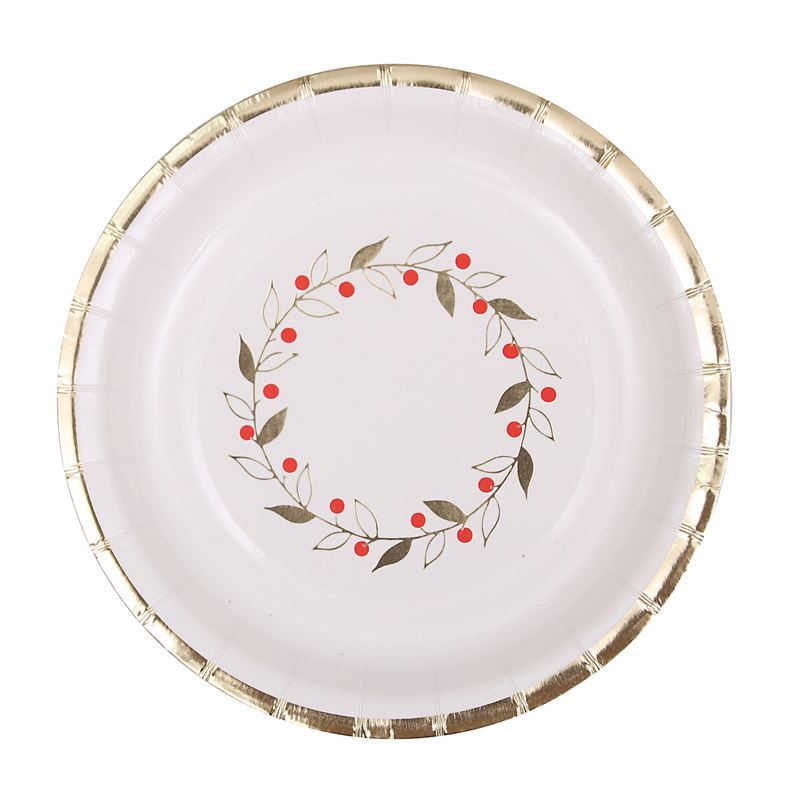 Merry Christmas Collection '21 – Gold Foil 18cm Paper Plates Pack of 12