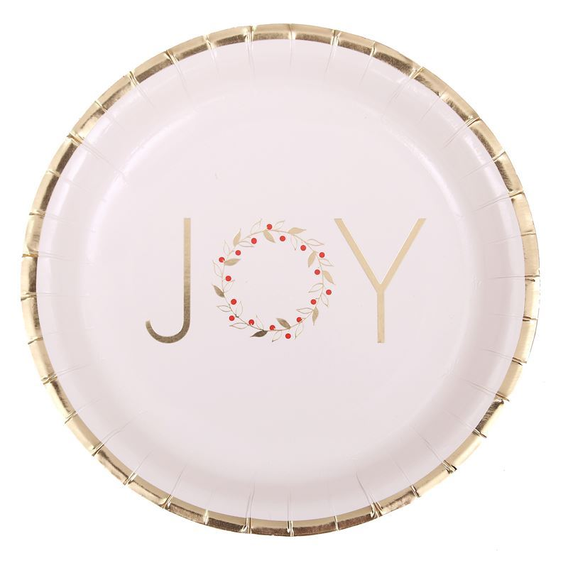 Merry Christmas Collection '21 – Gold Foil 23cm Paper Plates Pack of 12