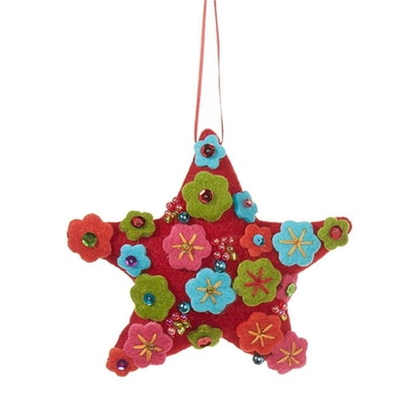 Oh What Fun – Flowered Star 13cm Ornament
