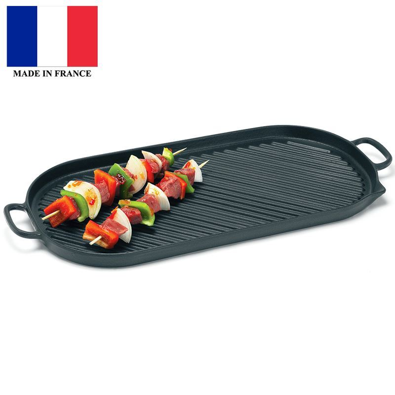 Chasseur Cast Iron – Midnite OnyxGiant Stove Top cooking surface 46x23cm Grill (Made in France)