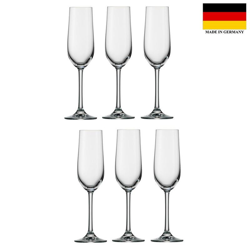 Stolzle – Classic Flute 190ml Premium German Lead Free Crystal Glass Set of 6 (Made in Germany)