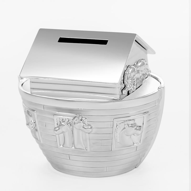 Whitehill – Silver Plated Money Box, Noah's Ark