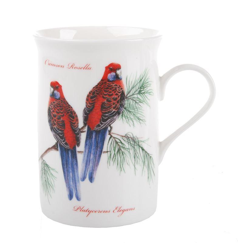 Dan Samuels Australia -Crimson Rosella (Red)Fine Bone China Mug 300ml