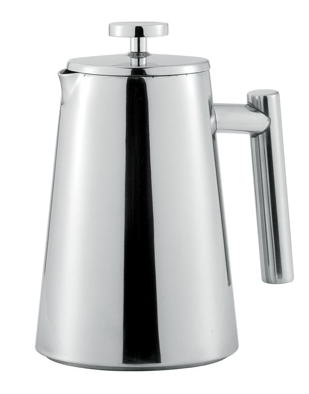 Benzer – Roxxi Polished Steel Double Wall Coffee Plunger 800ml 4 Cup
