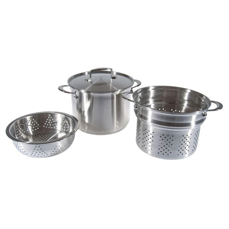Scanpan – Satin 3pc Multi Pasta/Steamer Pot Set 24cm