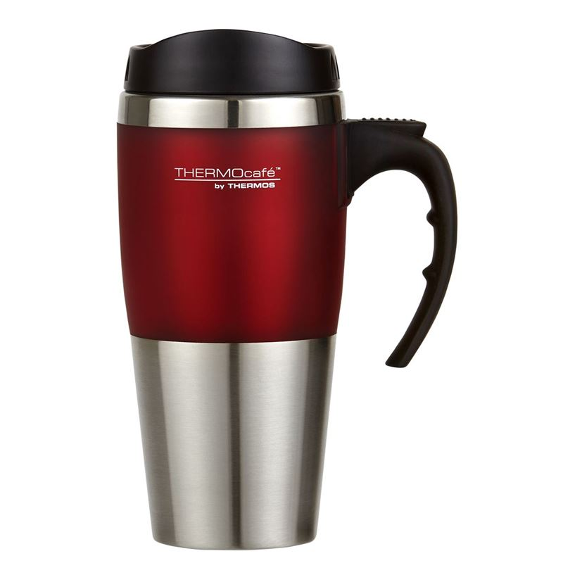 ThermoCafé Travel with Handle, Stainless Steel Inner, 450ml Red