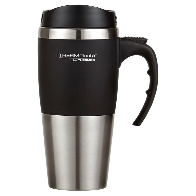 Thermocafé by Thermos – Double Wall Stainless Steel Inner Travel Mug Black 450ml