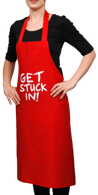 """Jamie Oliver – """"Get Stuck In"""" Red Cheeky Cotton Apron"""