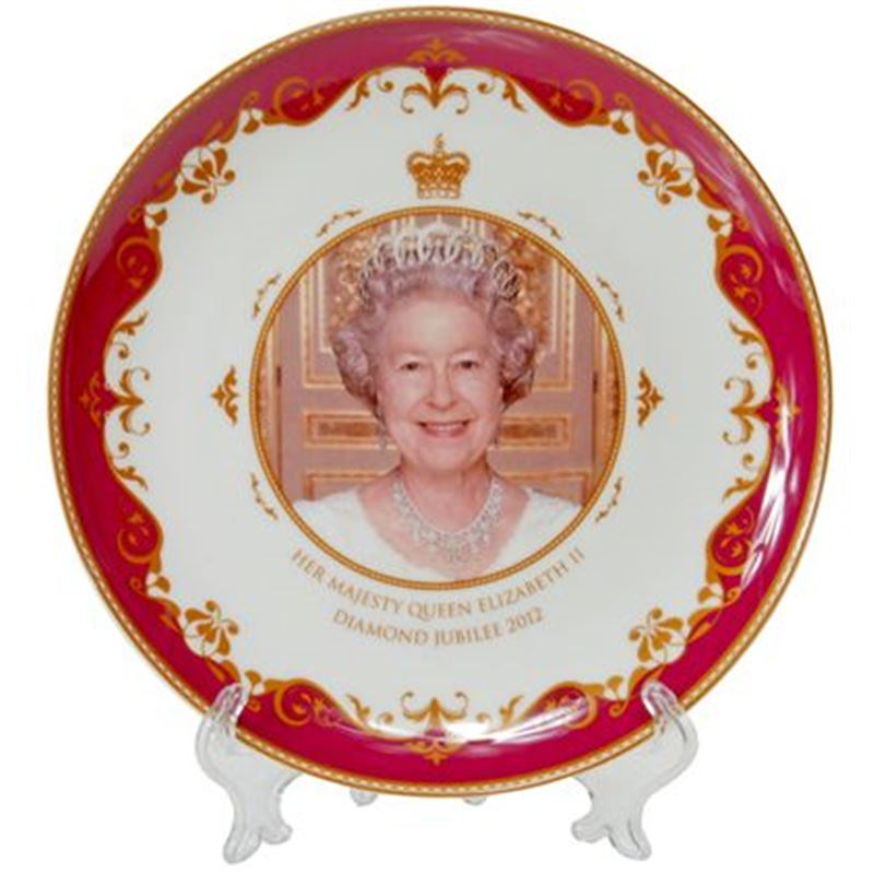 Royal Crest – Her Majesty Queen Elizabeth II Diamond Jubilee Heritage Fine Bone China Plate 20cm – with stand