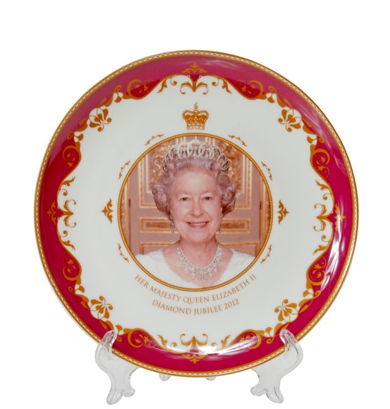 Royal Crest – Her Majesty Queen Elizabeth II Diamond Jubilee Heritage Fine Bone China Plate 15cm – with stand