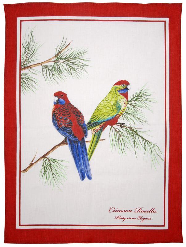 Dan Samuels – Australiana LINEN Tea Towel Crimson Rosella – 50x70cm