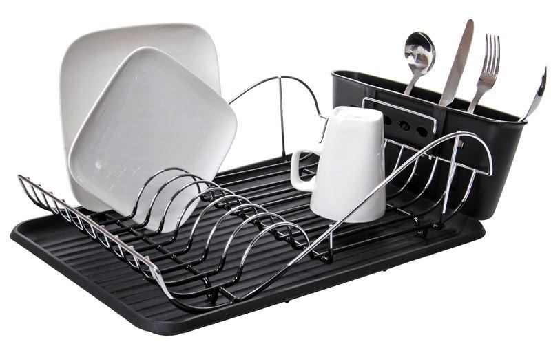 Zuhause – Loft Chrome & PVC Coated Dish Rack with Tray 41x32x13cm